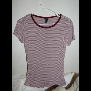 Maroon & White Stripped Tee